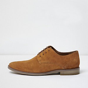 Tan suede perforated derby shoes