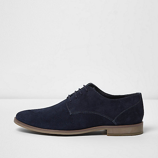 Navy suede perforated derby shoes