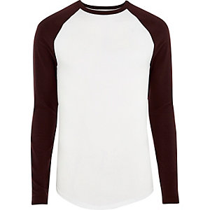 White long sleeve muscle fit raglan T-shirt