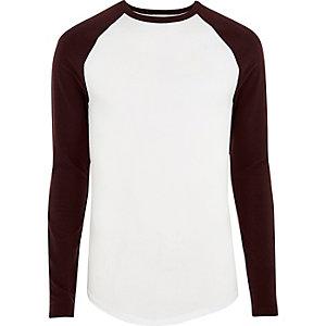 Wit aansluitend T-shirt met lange raglanmouwen