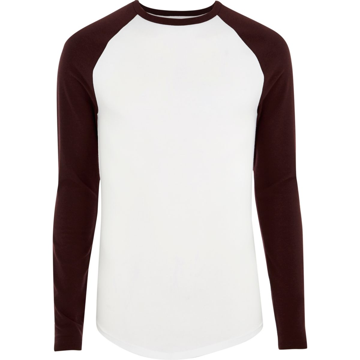 White long sleeve muscle fit raglan T-shirt