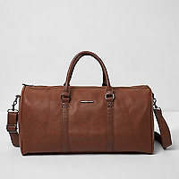 Tan faux leather duffle holdall