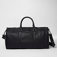 Black faux leather holdall