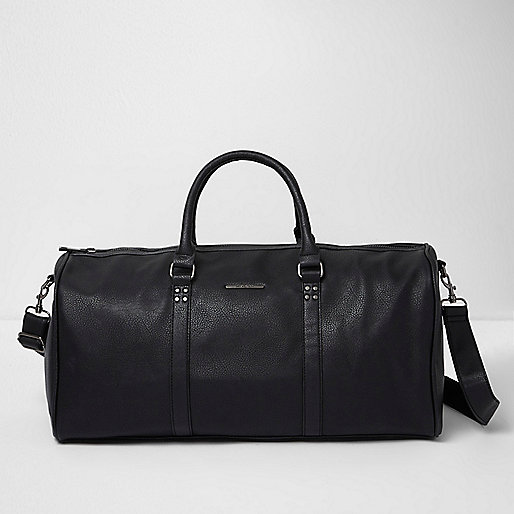 Black faux leather duffle holdall