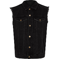 Black sleeveless frayed denim jacket