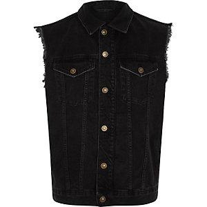 Veste en jean noire sans manches effilochée