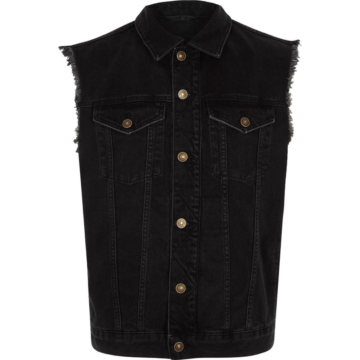 Black sleeveless frayed denim jacket