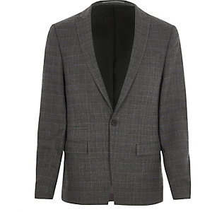 Grey Prince of Wales check skinny suit jacket