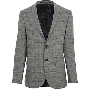 Veste de costume slim stretch à carreaux grise