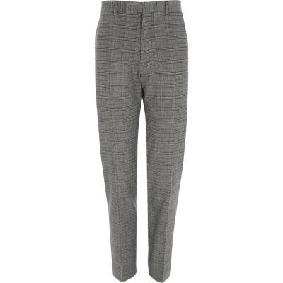 River Island Pantalon de costume slim stretch à carreaux gris