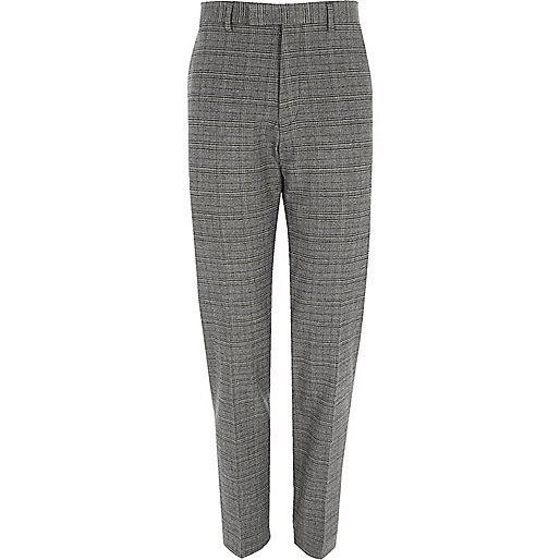 Grey check stretch slim fit suit pants