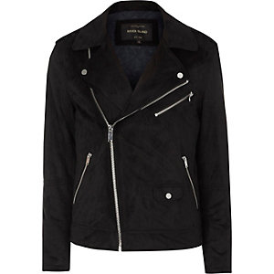 Black faux suede biker jacket