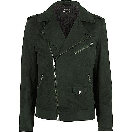 Green faux suede biker jacket