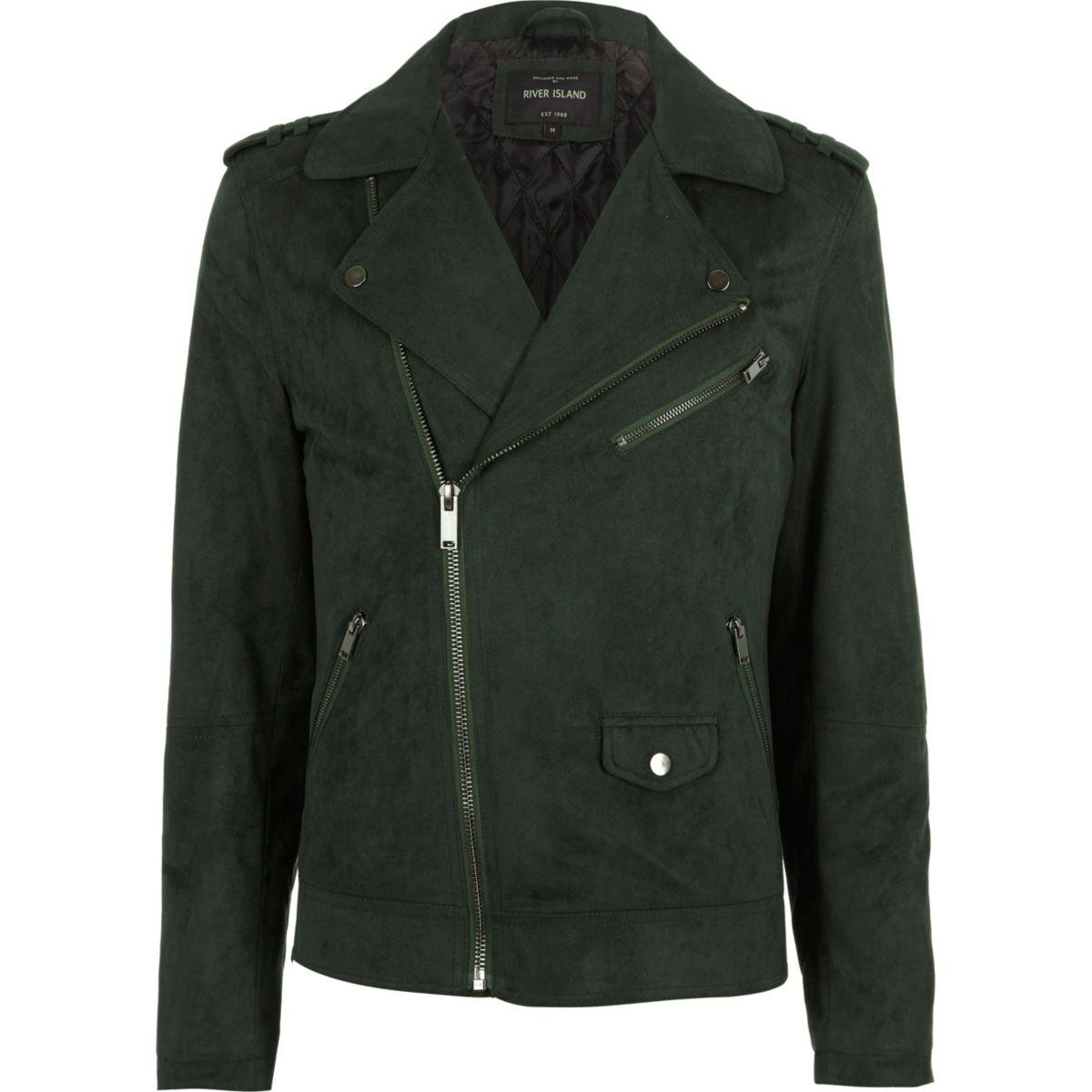 Green faux suede biker jacket