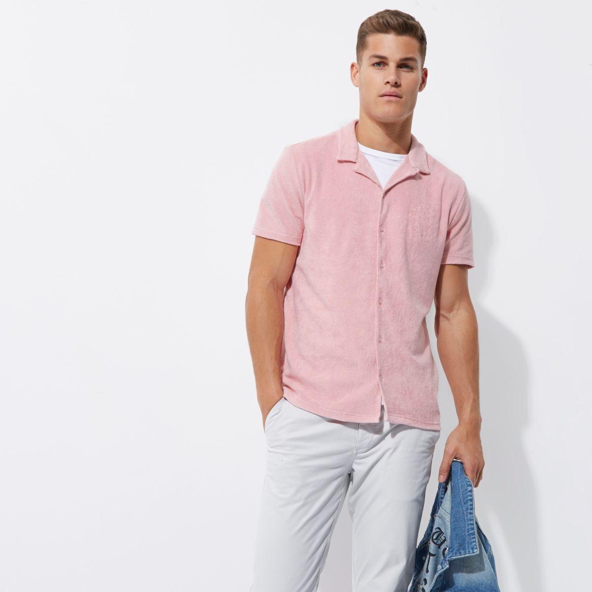 Pink towel revere slim fit shirt
