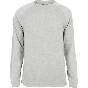 Grey marl raglan sleeve slim fit T-shirt