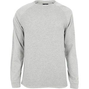 Grijs gemêleerd slim-fit T-shirt met raglanmouwen en structuur
