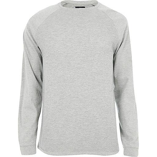 Grey marl slim fit textured raglan T-shirt