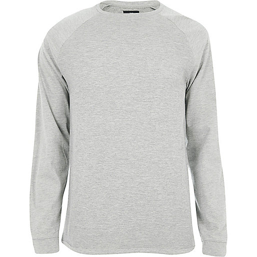 Grey marl slim fit textured raglan T-shirt