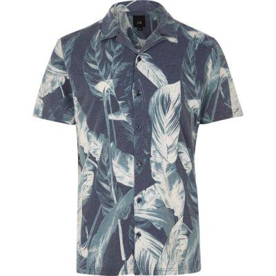 Marineblauw slim-fit overhemd met korte mouwen bladprint en reverskraag