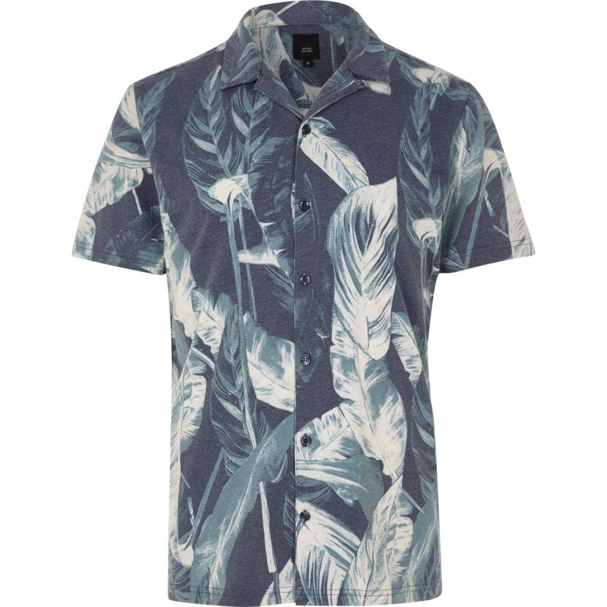 Navy leaf revere short sleeve slim fit shirt