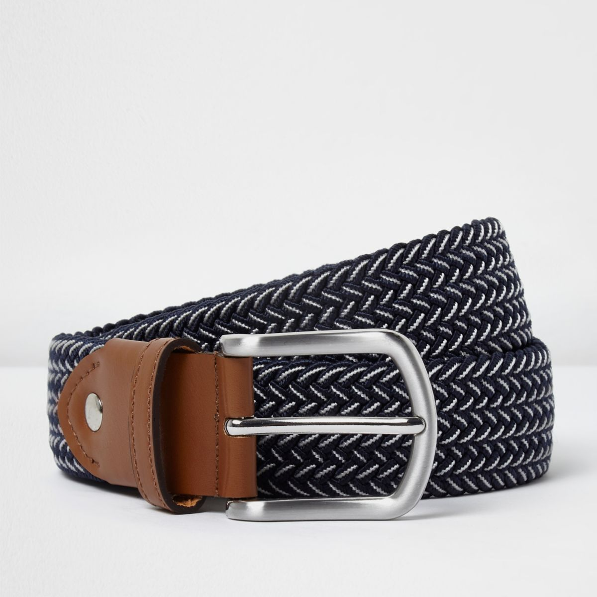 Blue woven contrast belt