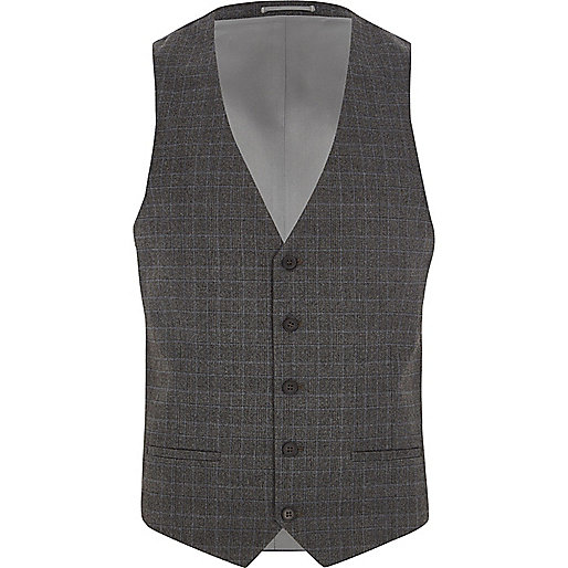 Grey Prince of Wales suit vest