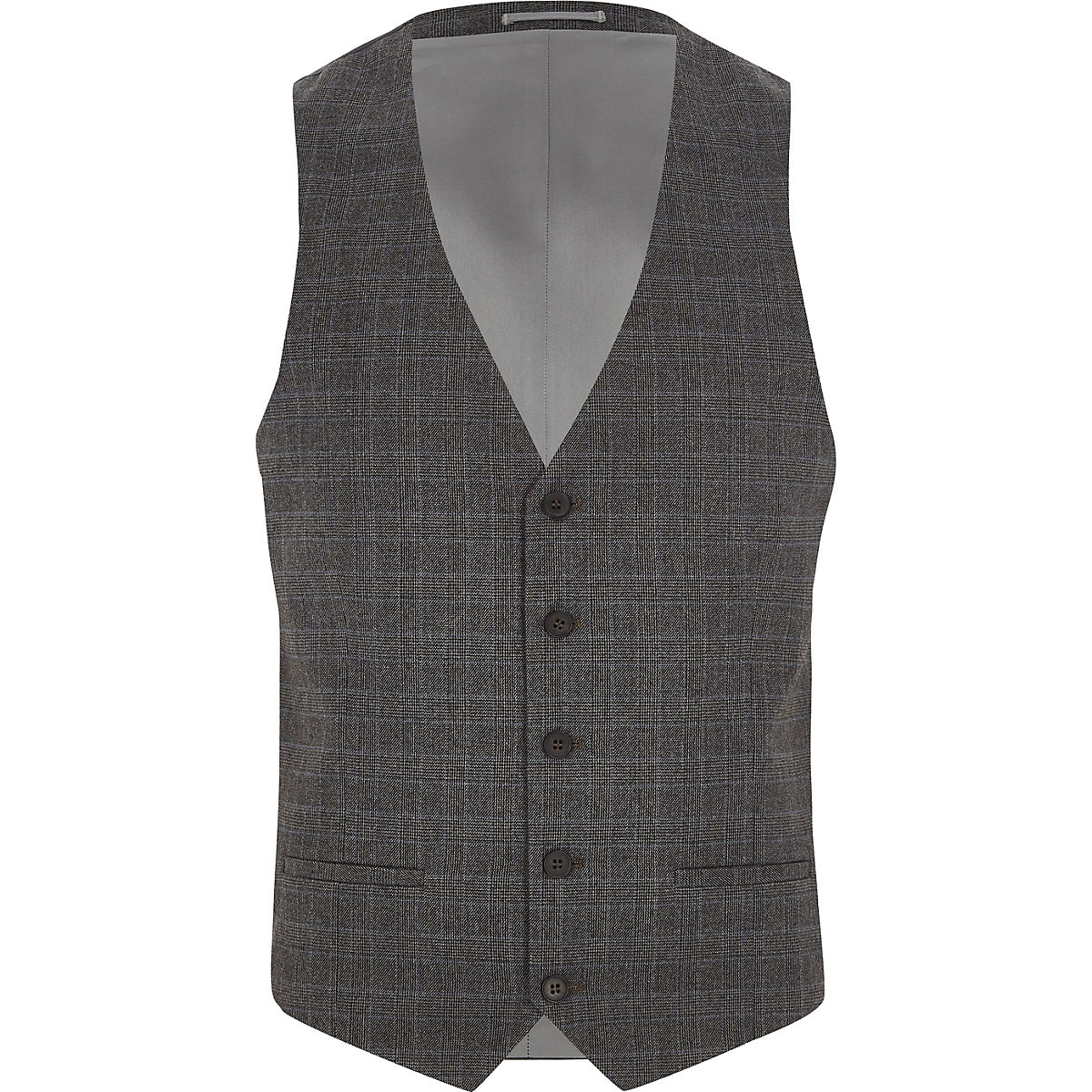 Grey Prince of Wales suit waistcoat