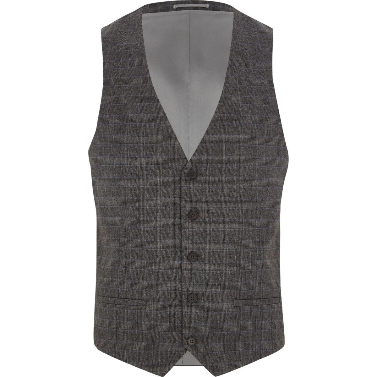 Grey Prince of Wales suit vest