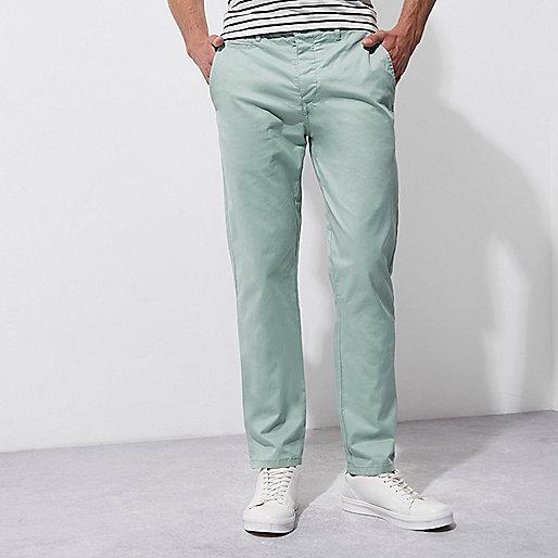 Light green slim chino trousers