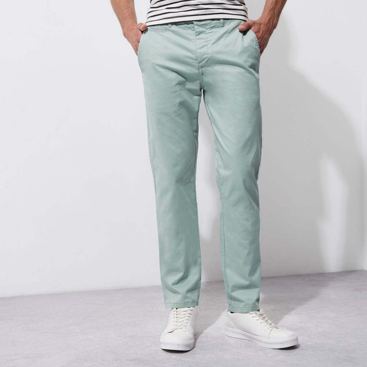 Light green slim chino pants