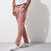 Pink slim chino trousers
