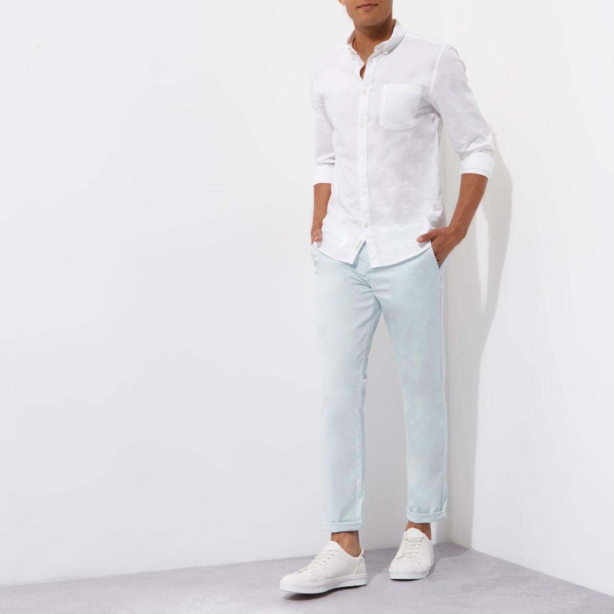 Light blue slim chino trousers