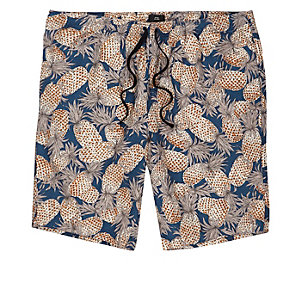 Navy pineapple linen blend slim fit shorts