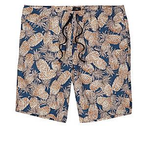 Short en lin mélange bleu marine motif ananas coupe slim