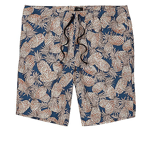 Navy pineapple linen blend slim fit shorts