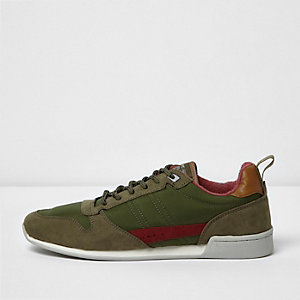 Dark green retro runner sneakers
