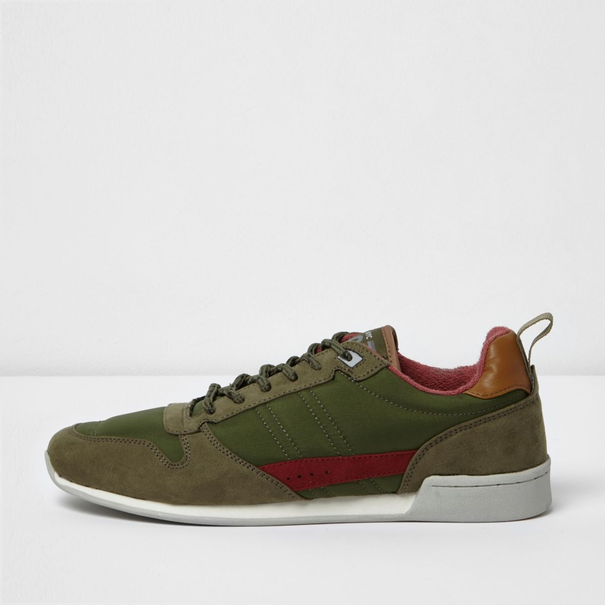 Dark green retro runner trainers