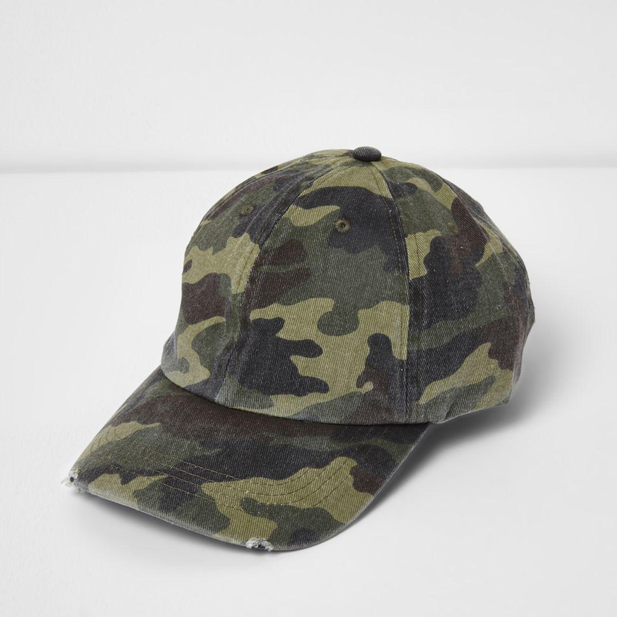 Green washed camo baseball cap