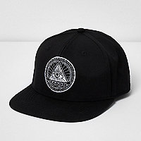 Black eye snapback flat peak cap
