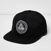 Black eye snapback flat peak cap