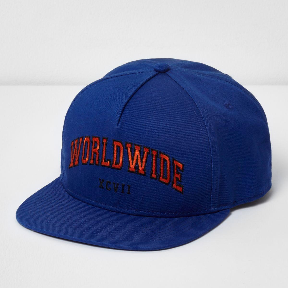 Blauwe snapback pet met 'worldwide'-print en platte klep