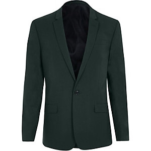 Dark green skinny fit suit jacket