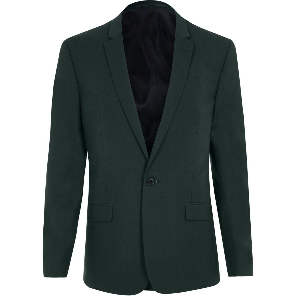 Dark green skinny fit suit jacket