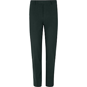 Dark green stretch skinny fit suit pants