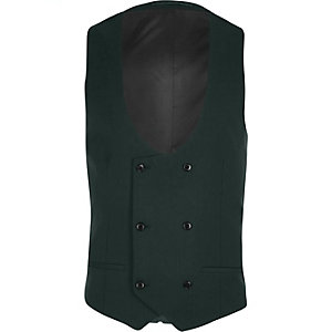 Dark green double breasted suit vest