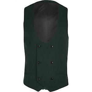 Gilet de costume vert foncé à double boutonnage