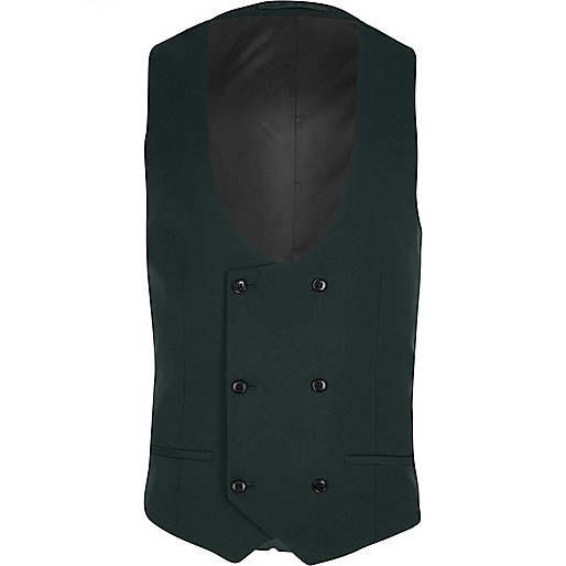 Dark green double breasted suit waistcoat