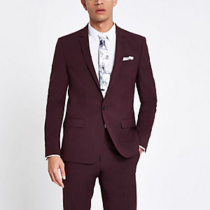 Purple stretch skinny fit suit jacket