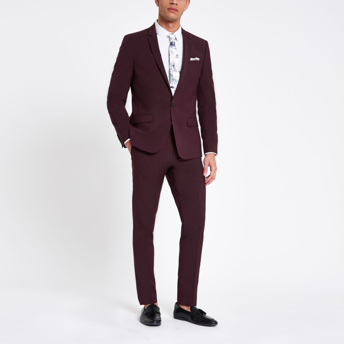 Purple stretch skinny fit suit trousers